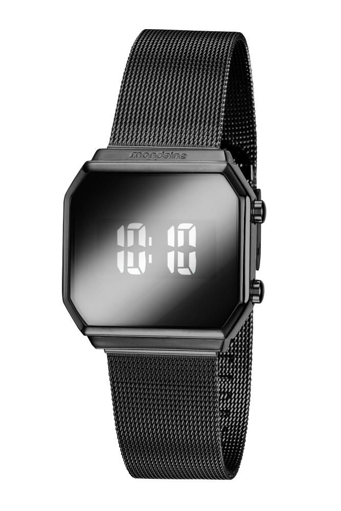 Relógio Feminino Mondaine Espelhado 32121LPMVPE4 33mm Aço Preto