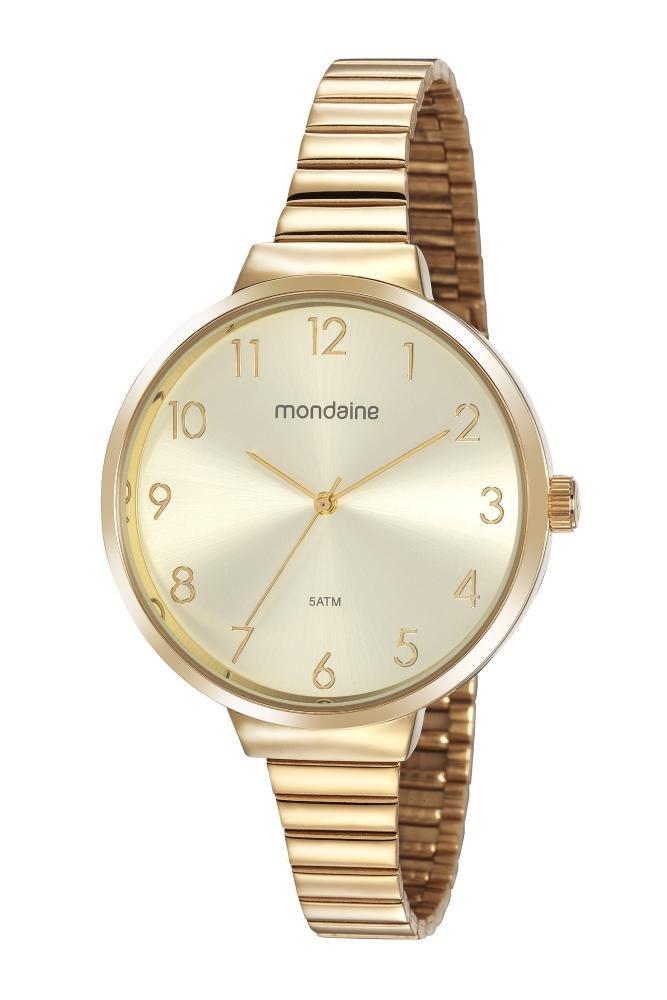 Relógio Feminino Mondaine Minimalista 32116LPMVDE1 41mm Aço Dourado