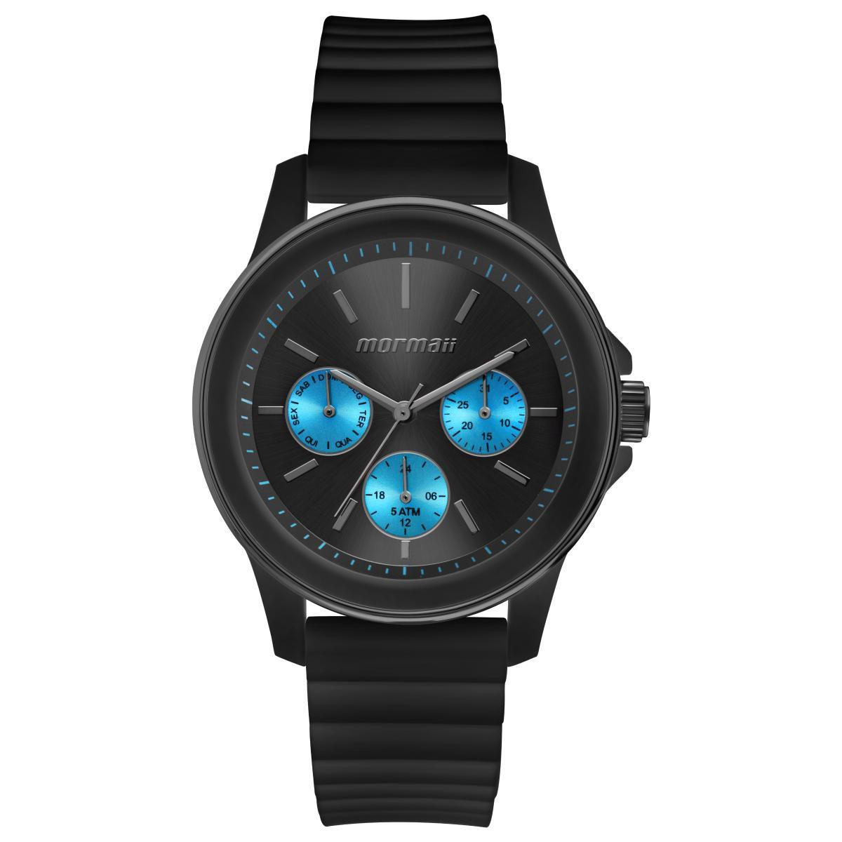 Relógio Feminino Mormaii Luau MO6P29AM/8A 41mm Silicone Preto