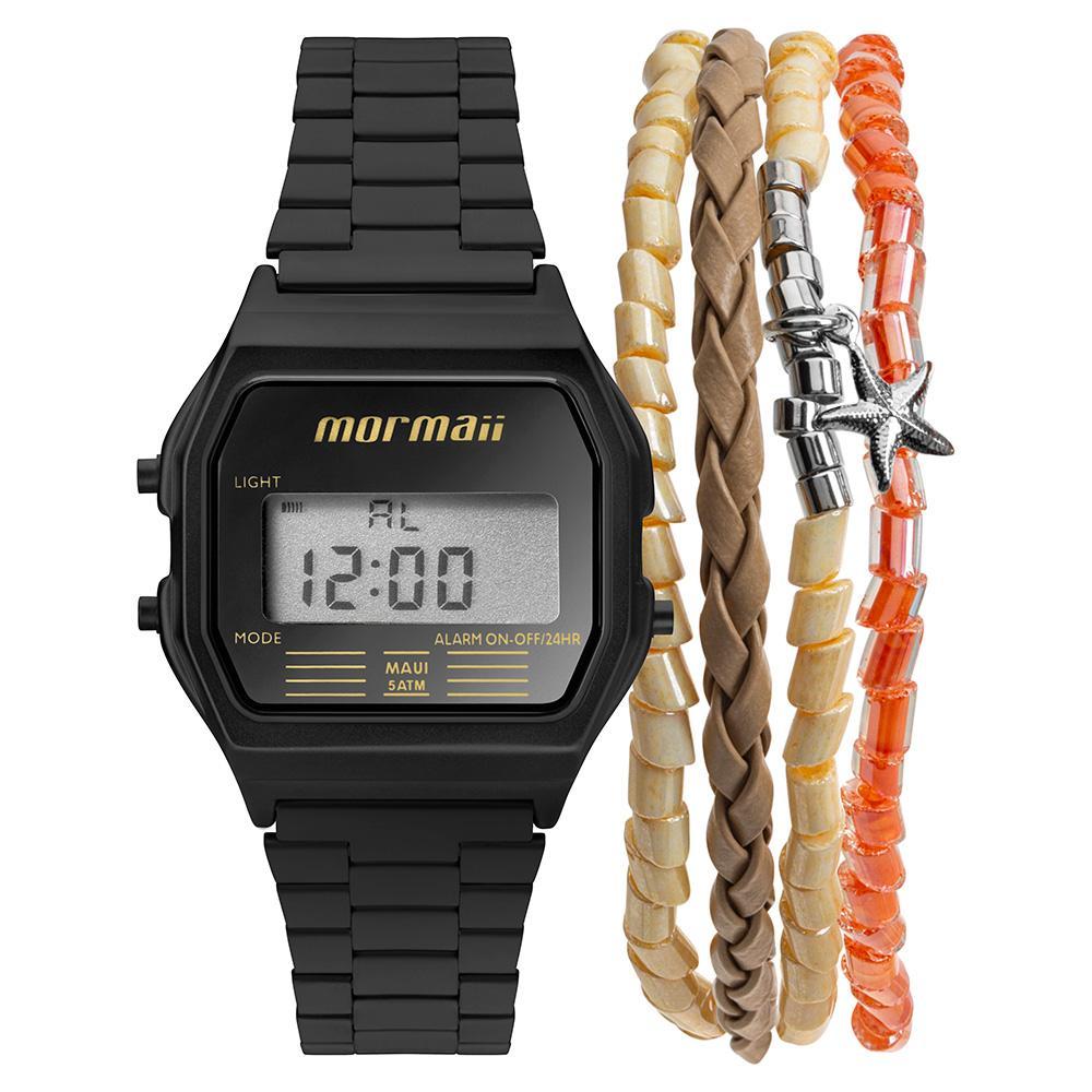 Relógio Feminino Mormaii Vintage MOJH02AJ/K4P 34mm Aço Preto
