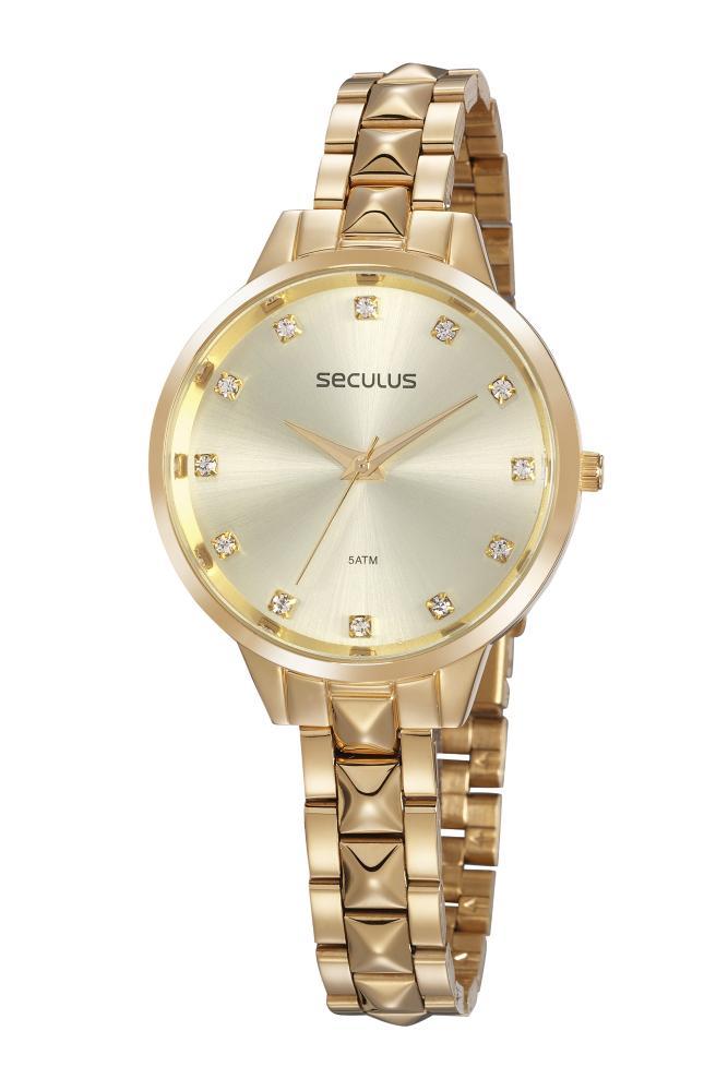 Relógio Feminino Seculus 77067LPSVDS1 38mm Aço Dourado