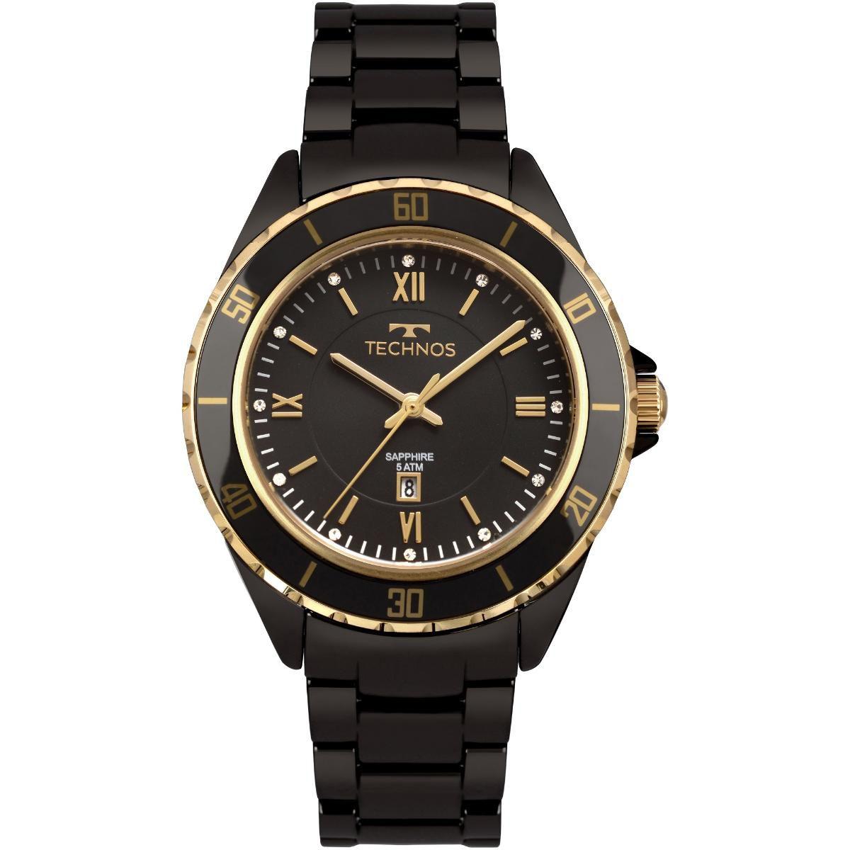 Relógio Feminino Technos 2015CAO 4P 38mm Cerâmica Preta - Vitrino Relógios 5d6cf67622