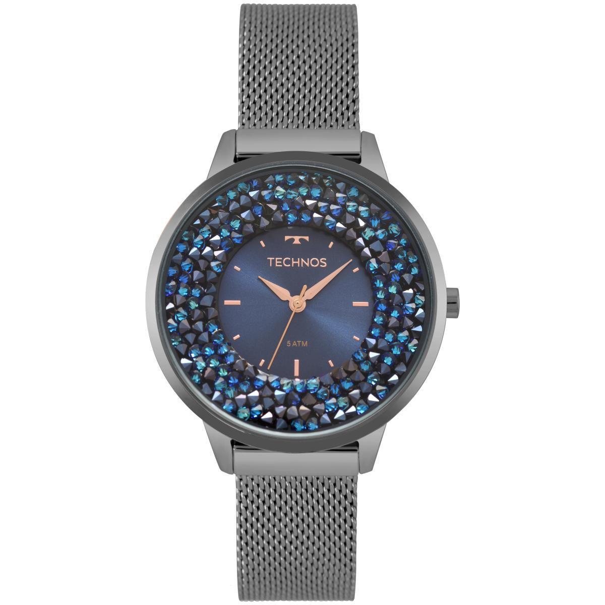 Relógio Feminino Technos 2035MQC/5A 38mm Aço Grafite
