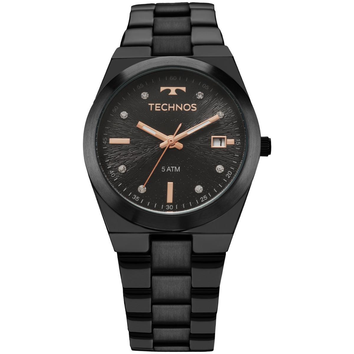 Relógio Feminino Technos 2115KZS/5P Pulseira Aço Preta
