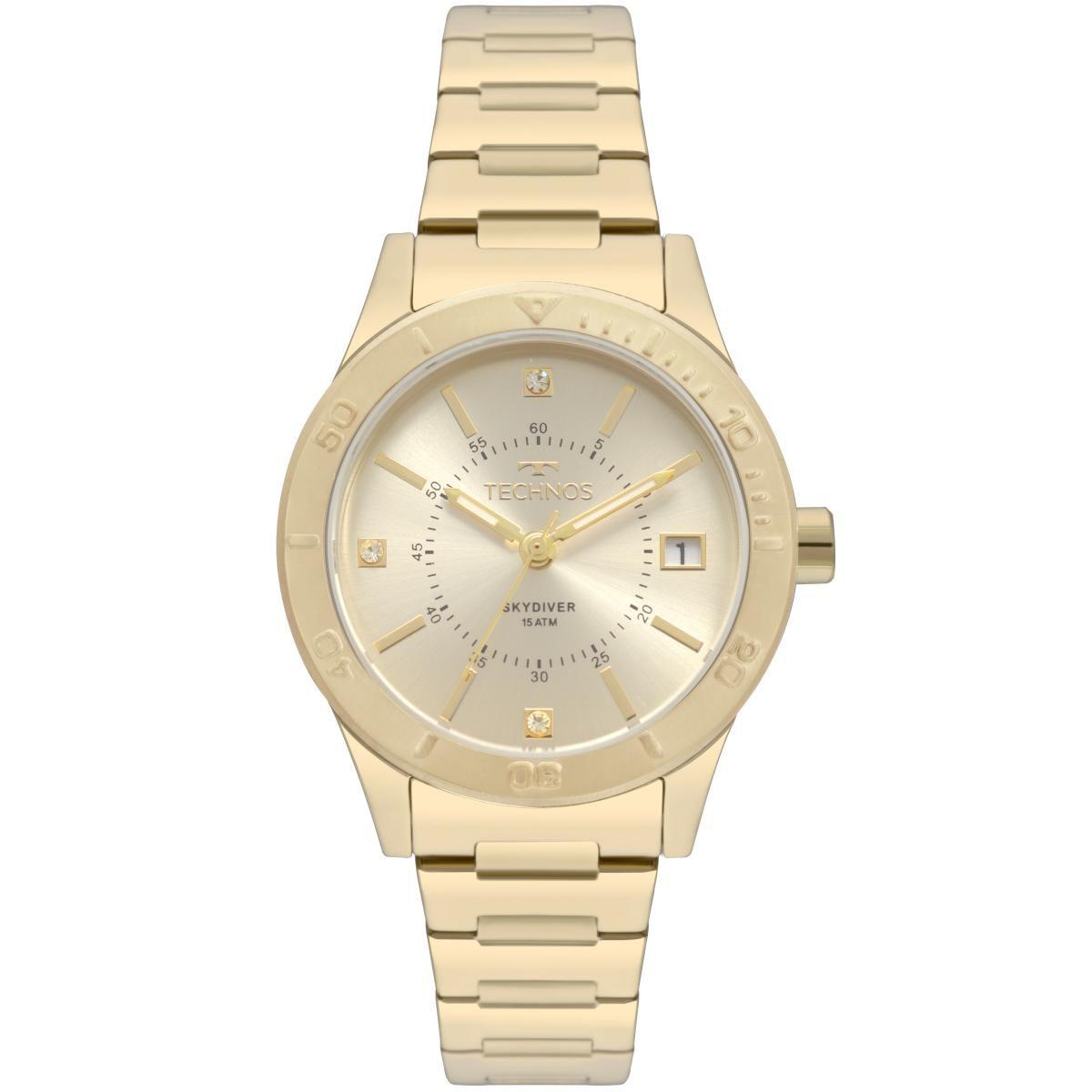e018f525b83 Relógio Feminino Technos 2115MOR 4X 33mm Aço Dourado