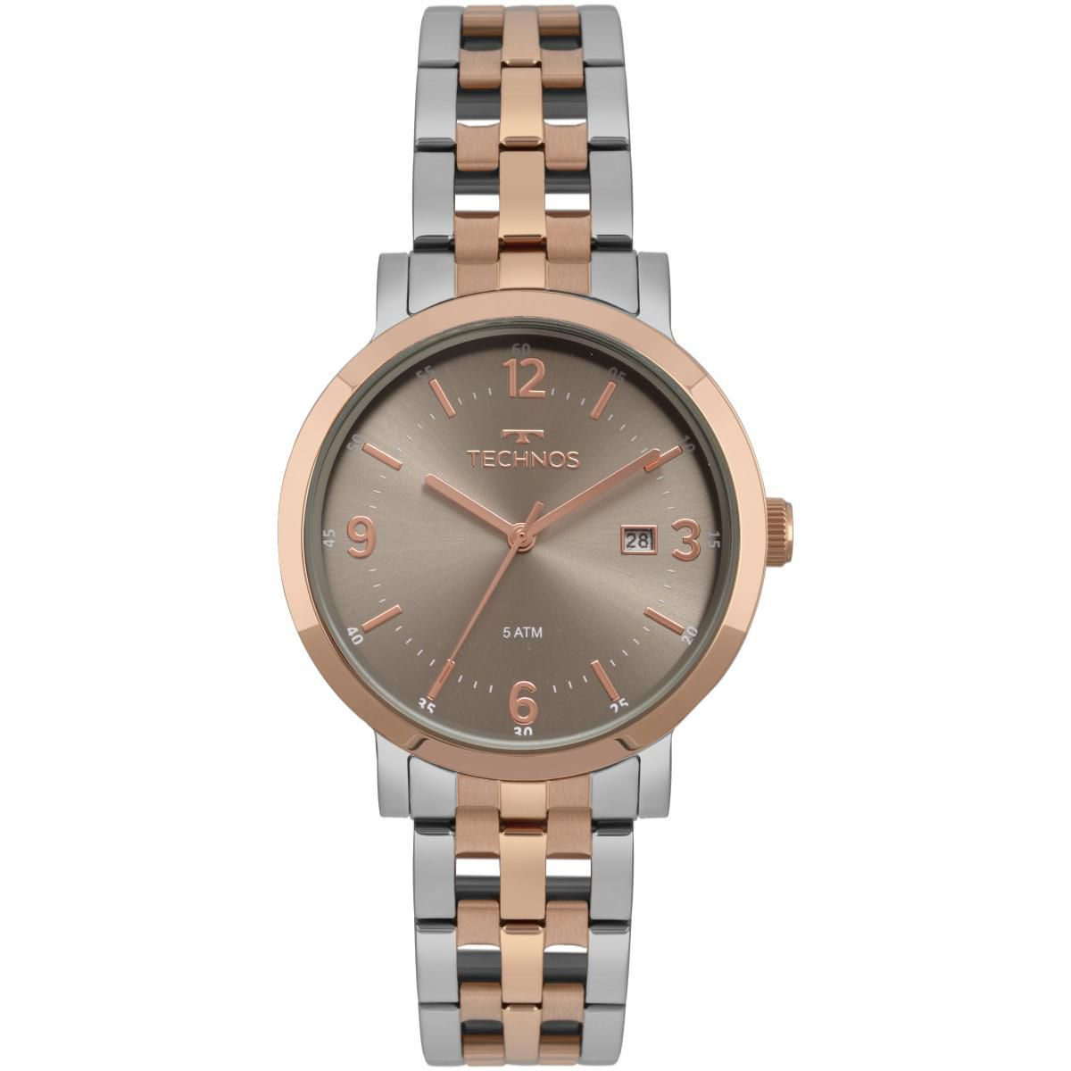 Relógio Feminino Technos 2115MPF/5C 39mm Aço Bicolor Prata/Rose