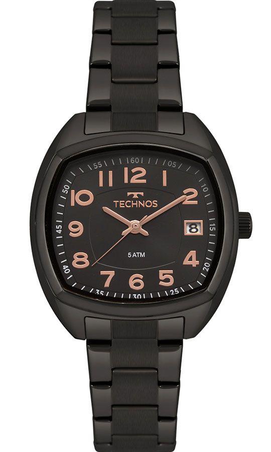 Relógio Feminino Technos 2115MRK/4P 34mm Aço Preto