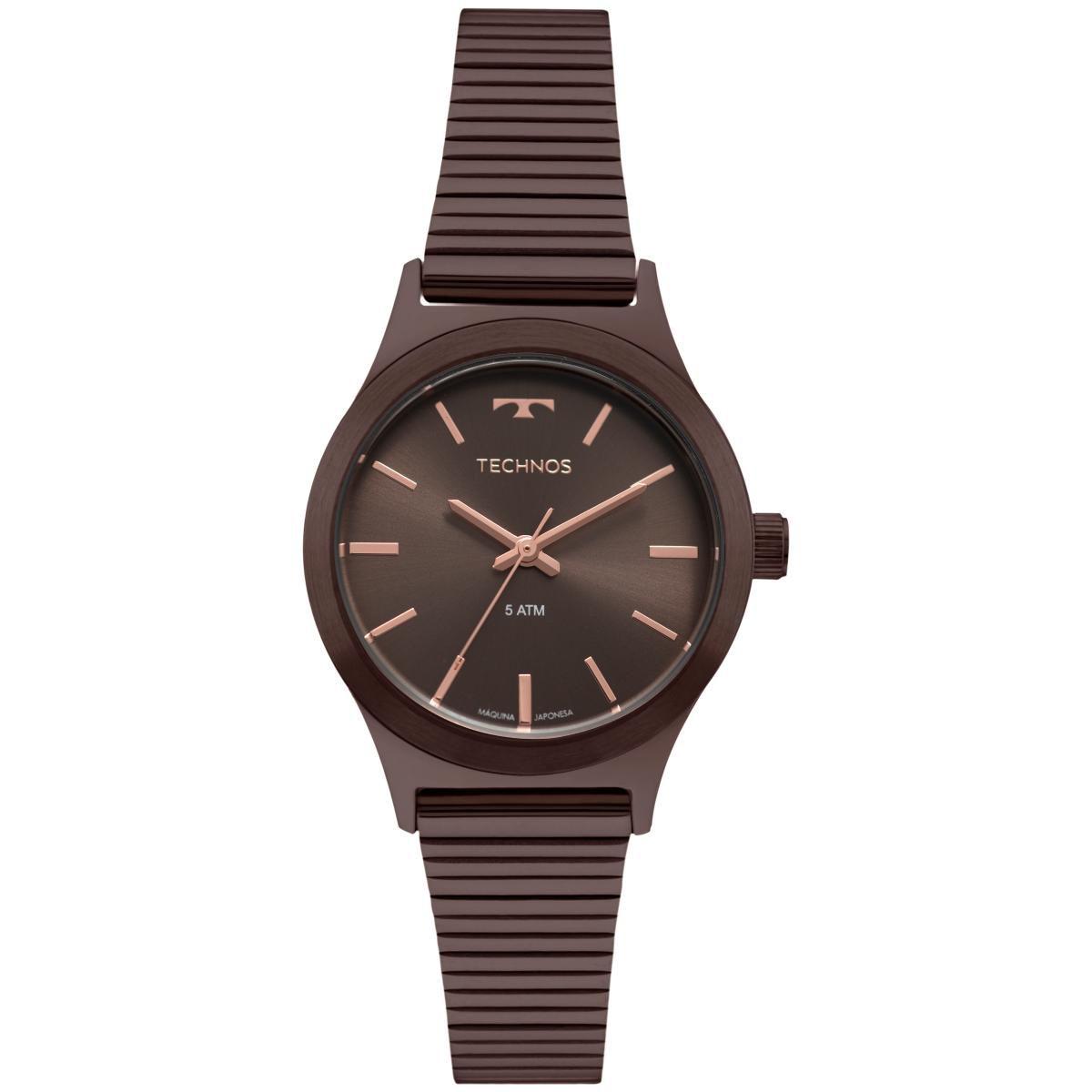 0b23aff6c8b Relógio Feminino Technos Boutique 2035MQH 4M 30mm Aço Marrom