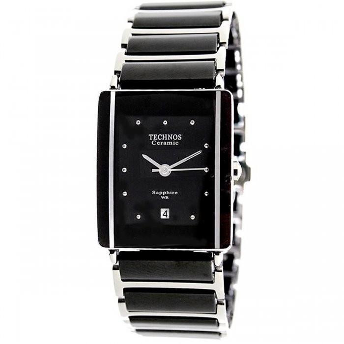 29418d09dd6 Relógio Feminino Technos Ceramic 1N12ACPAI 1P 25mm Aço Prata Cerâmica Preta