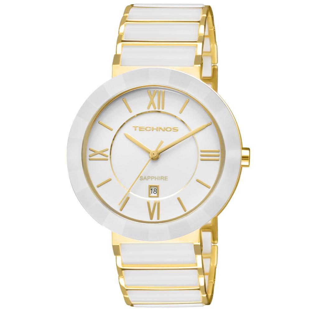 Relógio Feminino Technos Ceramic 2015BV/4B 40mm Aço Dourado/Cerâmica Branca
