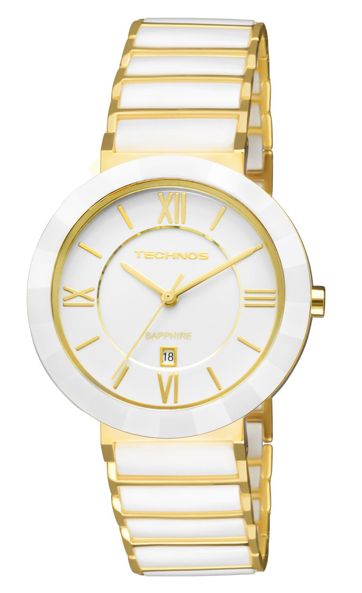 Relógio Feminino Technos Ceramic 2015CE 4B Dourado Branco 34mm - Vitrino  Relógios 265ed39d25