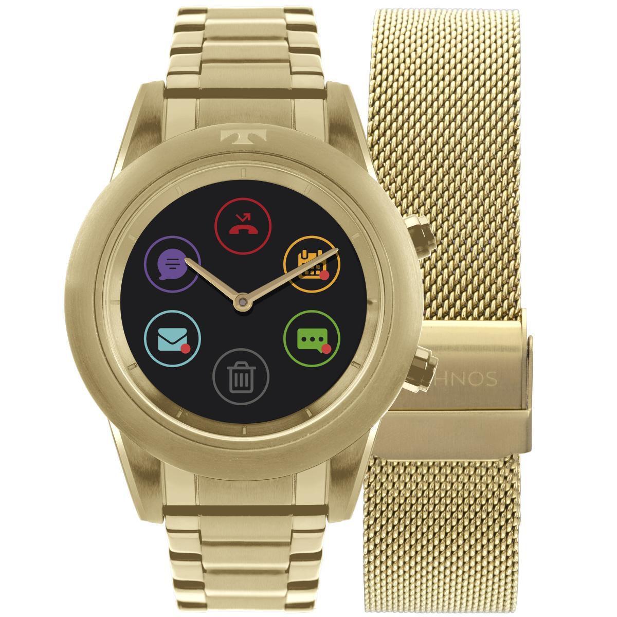 Relógio Feminino Technos Connect Duo Smartwatch P01AC/4P Aço Dourado