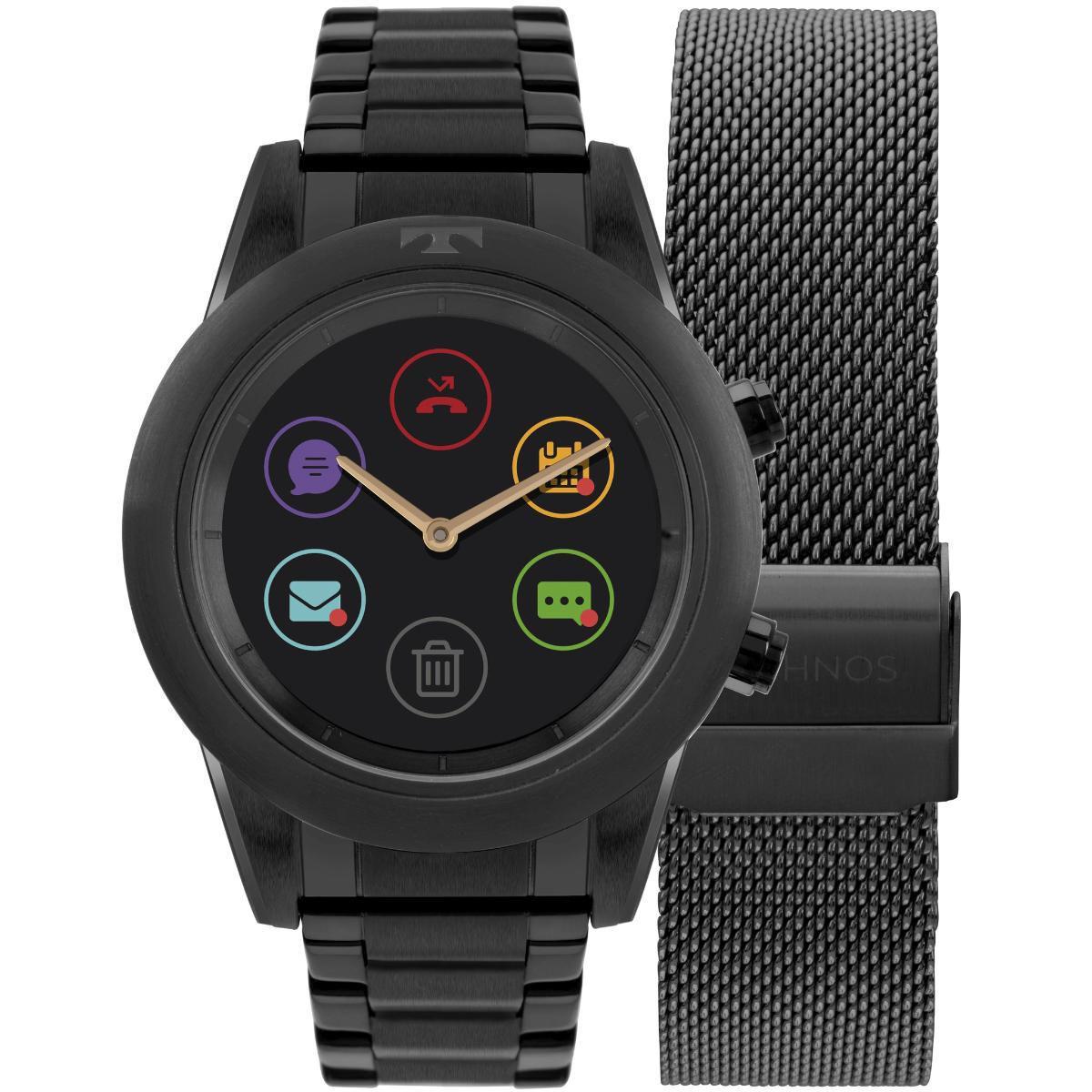 Relógio Feminino Technos Connect Duo Smartwatch P01AD/4P Aço Preto
