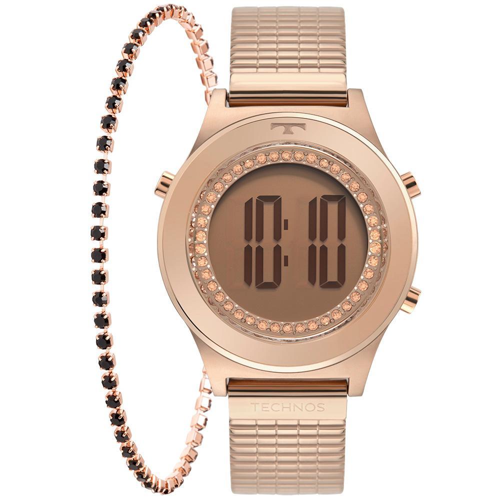 Relógio Feminino Technos Cristais BJ3927AB/K1T 30mm Aço Rose