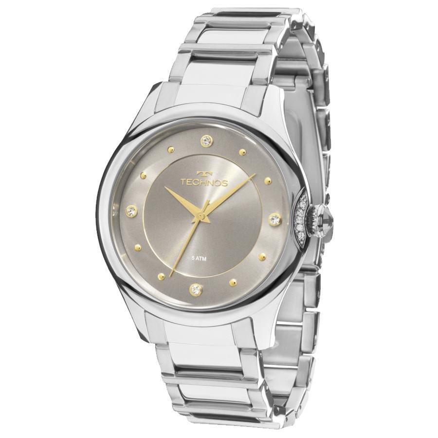 Relógio Feminino Technos Crystal 2035MFS/3C 38mm Aço Prata