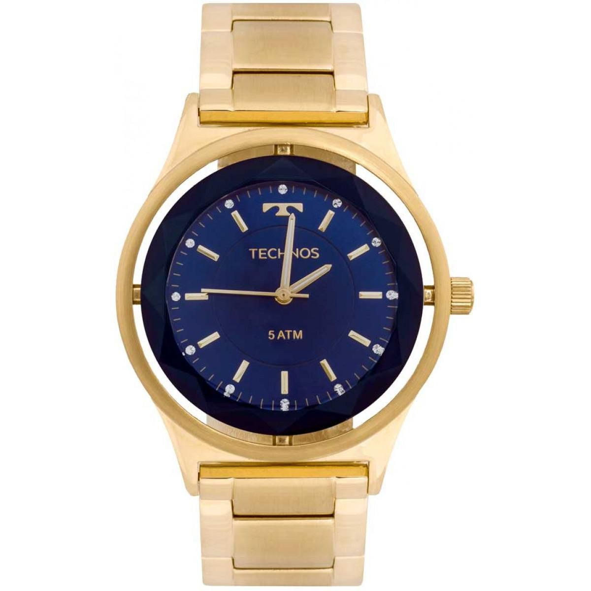 Relógio Feminino Technos Crystal 2035MIC/4A 39mm Aço Dourado