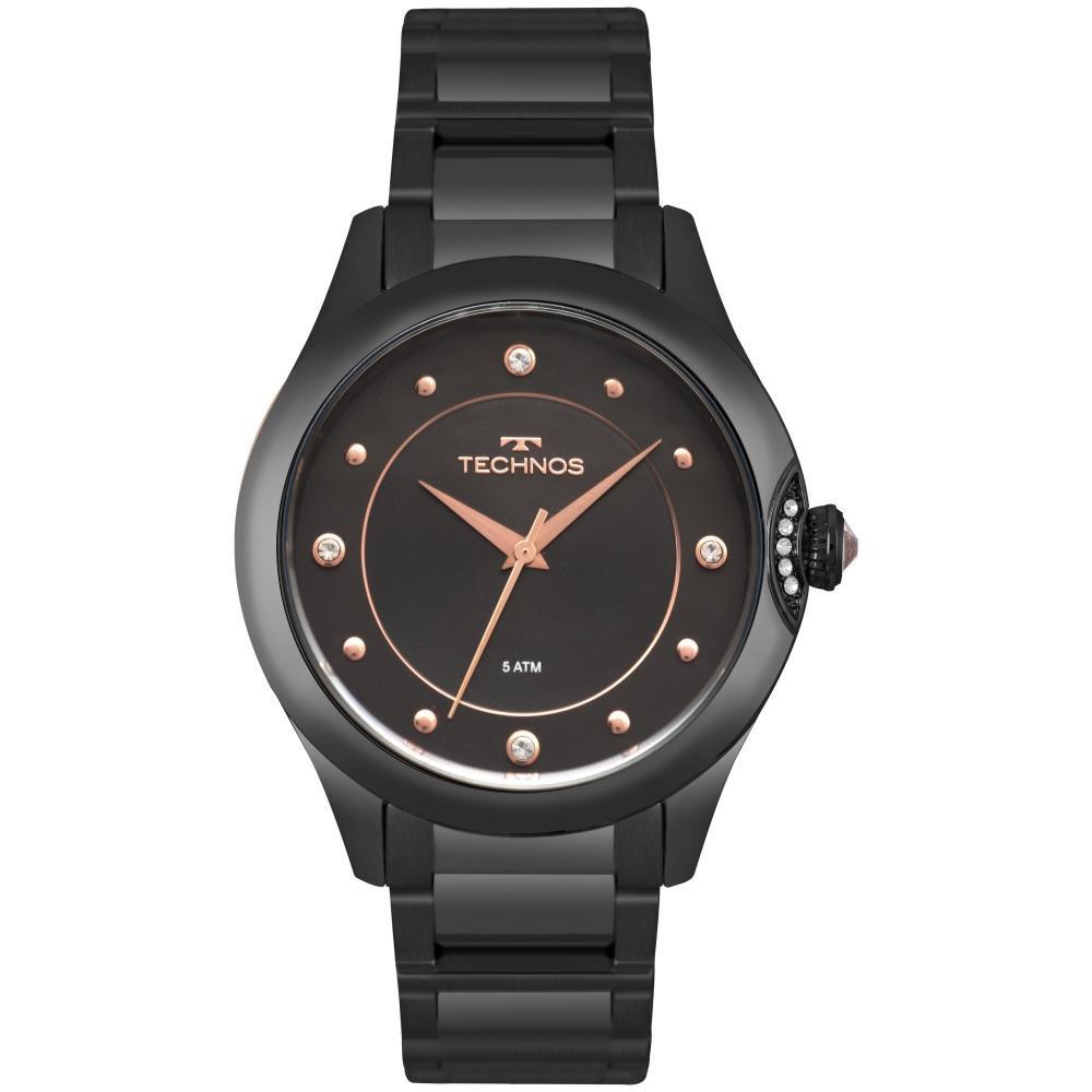 Relógio Feminino Technos Crystal 2035MPZ/5P 38mm Aço Preto