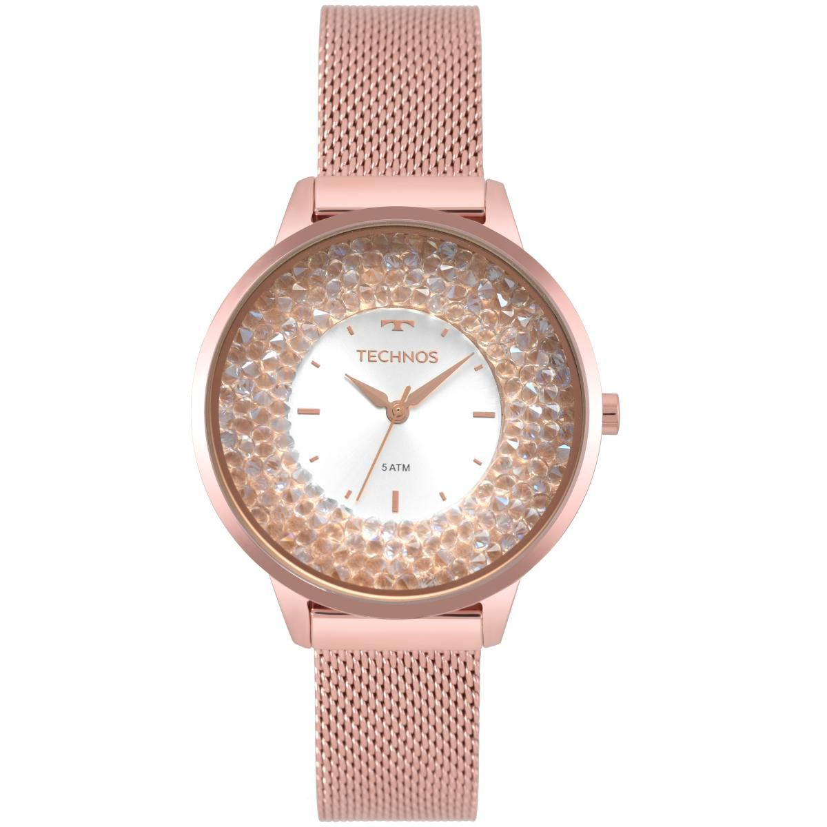 Relógio Feminino Technos Crystal 2035MQB/5K 38mm Aço Rosê