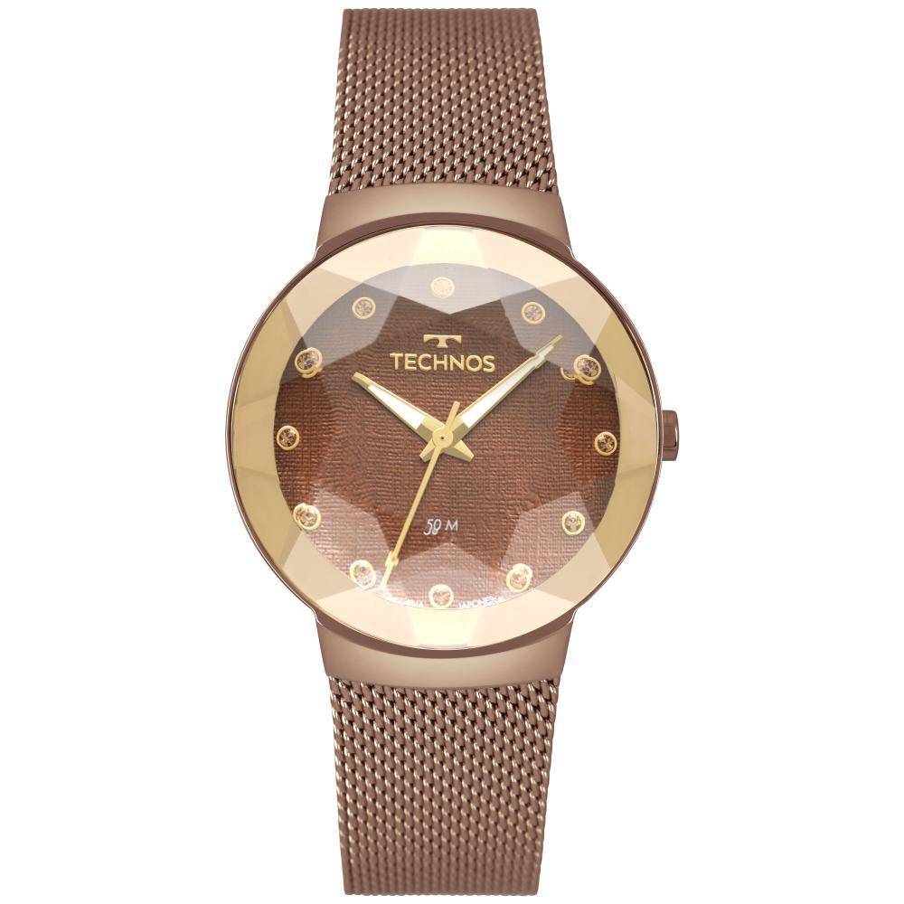 Relógio Feminino Technos Crystal 2035MRJ/4M 34mm Aço Marrom
