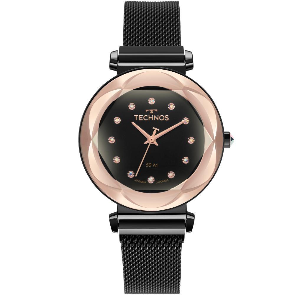 Relógio Feminino Technos Crystal 2035MSA/4P 38mm Aço Preto