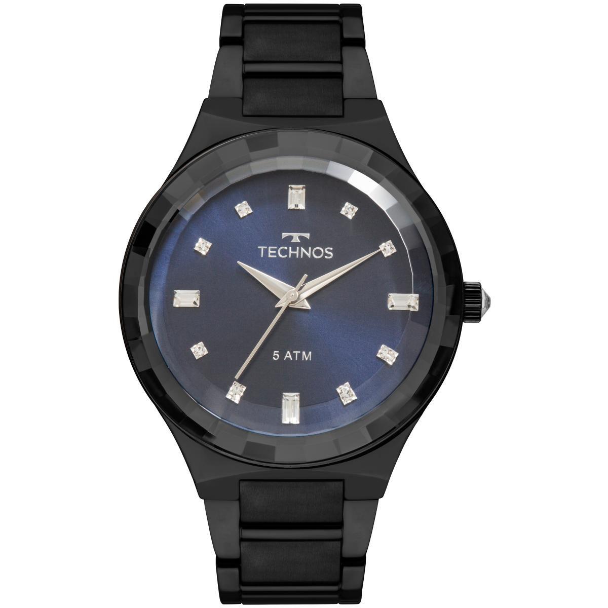78329aa3042 Relógio Feminino Technos Crystal 2036MJL 4A Pulseira Aço Preta
