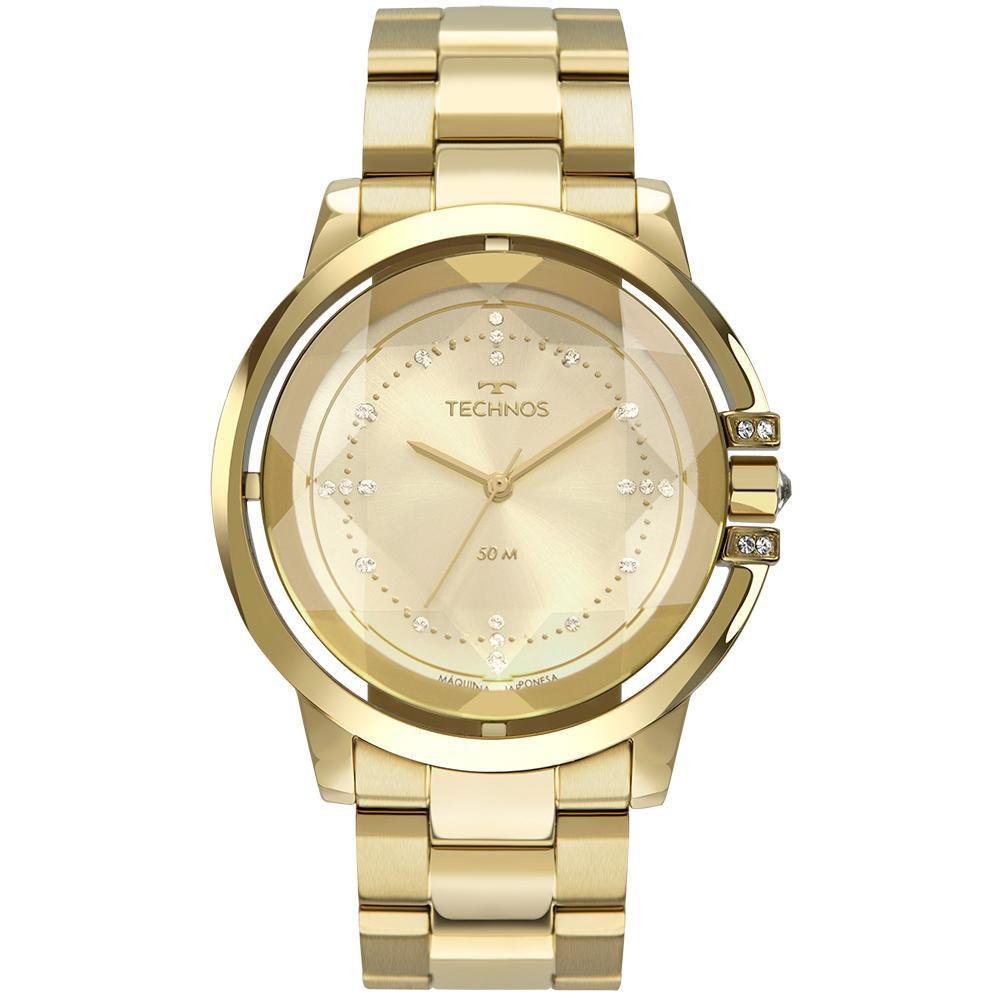 Relógio Feminino Technos Crystal 2036MLL/4X 42mm Aço Dourado