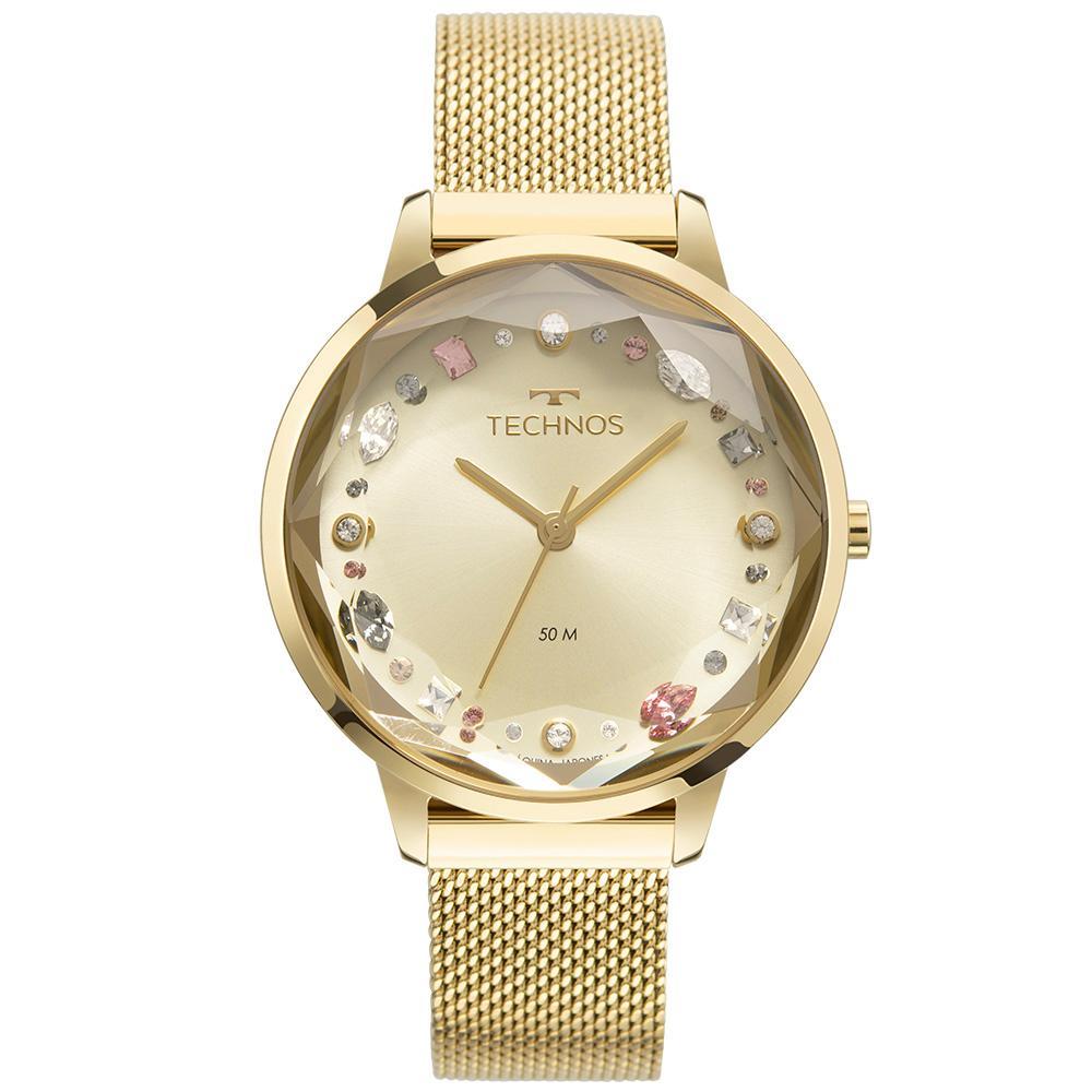 Relógio Feminino Technos Crystal 2036MMJ/1X 38mm Aço Dourado