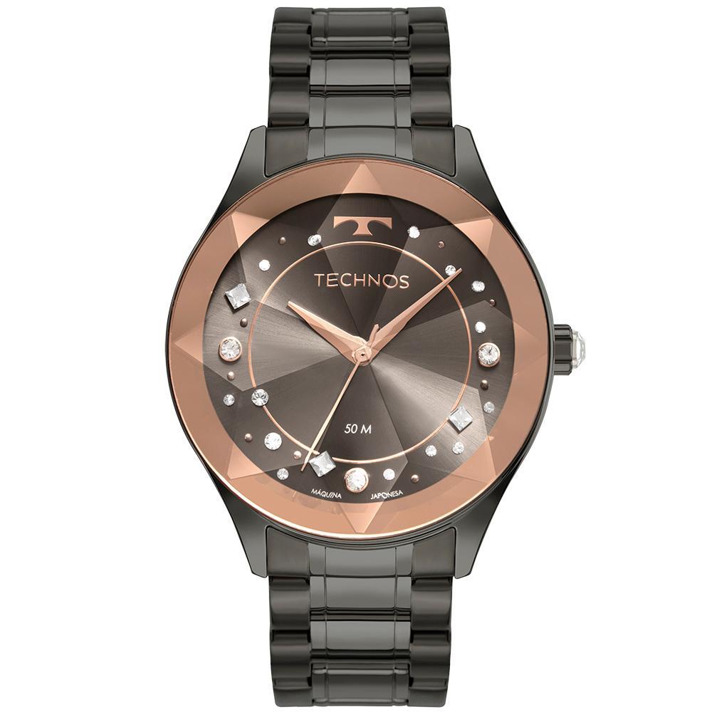 Relógio Feminino Technos Crystal 2036MNE/1C 41mm Aço Grafite