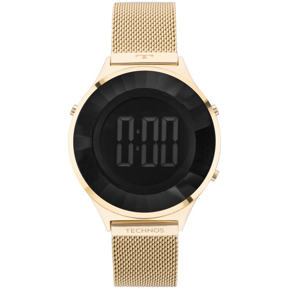 Relógio Feminino Technos Crystal Digital BJ3851AD/4P 40mm Aço Dourado