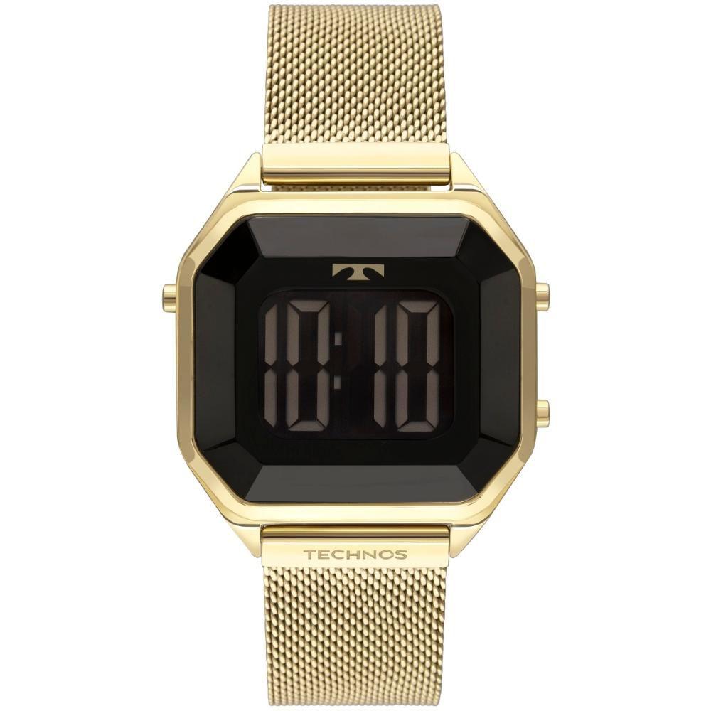 Relógio Feminino Technos Crystal Digital BJ3851AJ/4P 38mm Aço Dourado