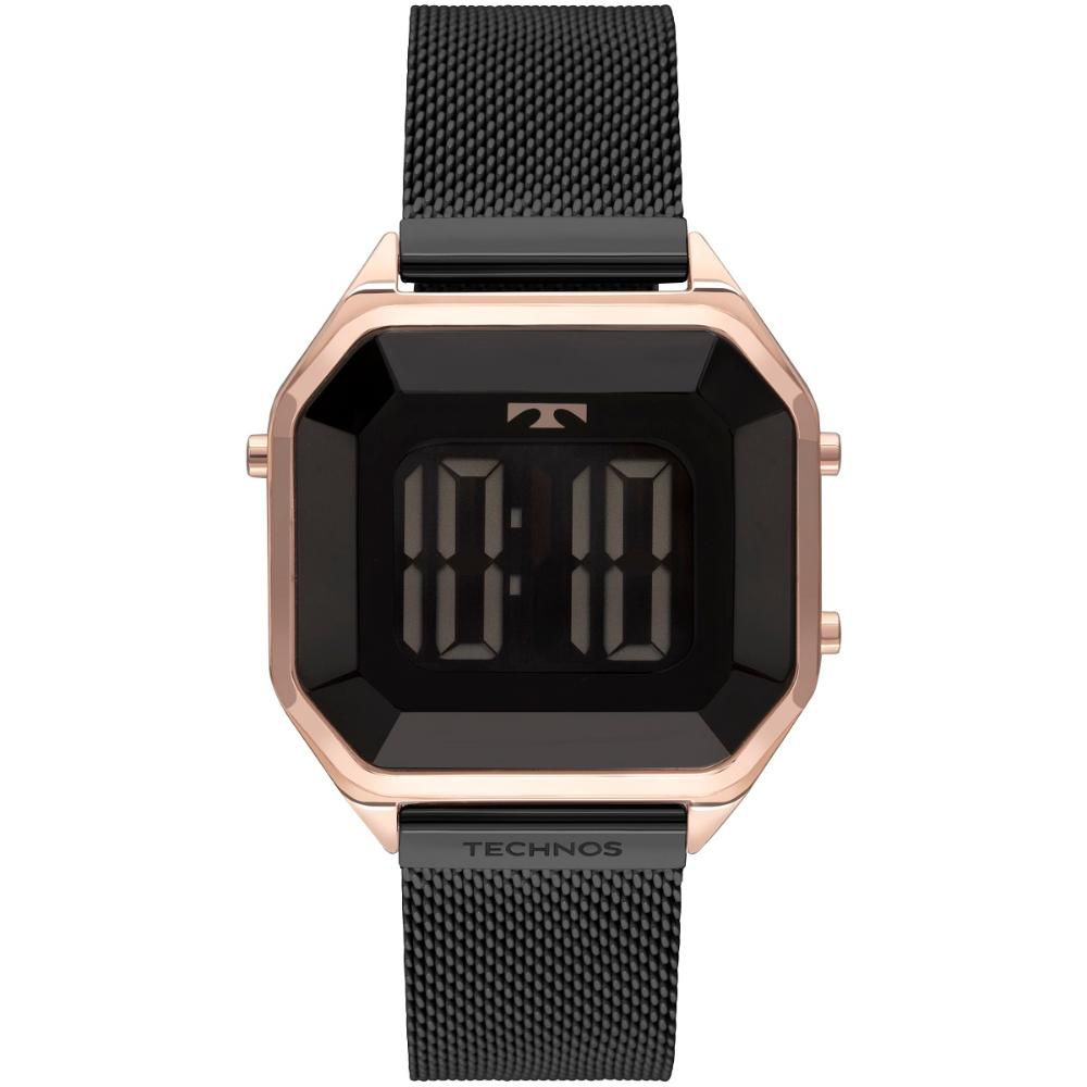 Relógio Feminino Technos Crystal Digital BJ3851AM/4P 38mm Aço Preto