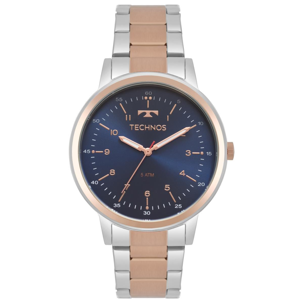 7339895f571 Relógio Feminino Technos Dress 2035MPQ 5A 39mm Aço Bicolor Prata Rosê