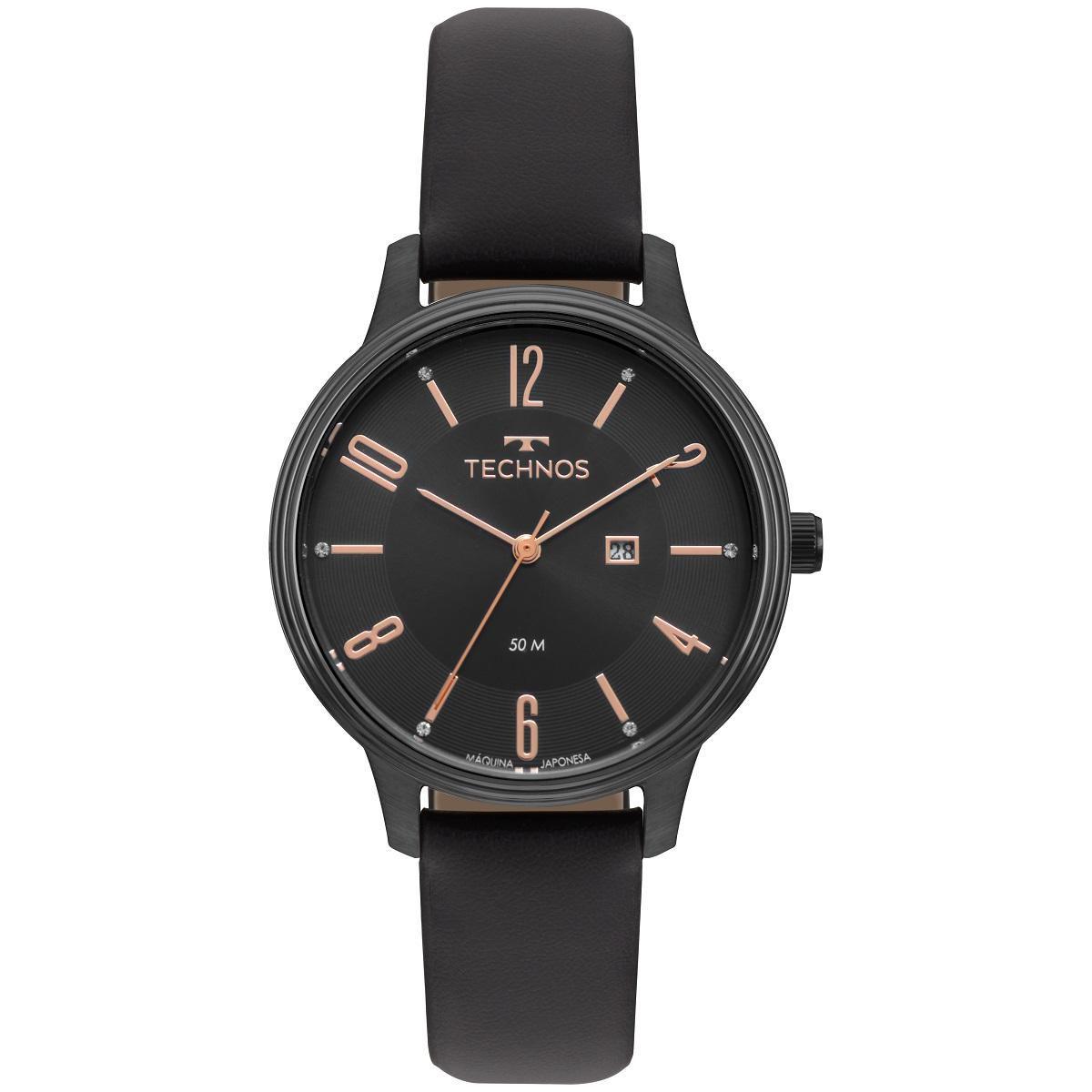 Relógio Feminino Technos Elegance 2015CCK/2P 38mm Couro Preto