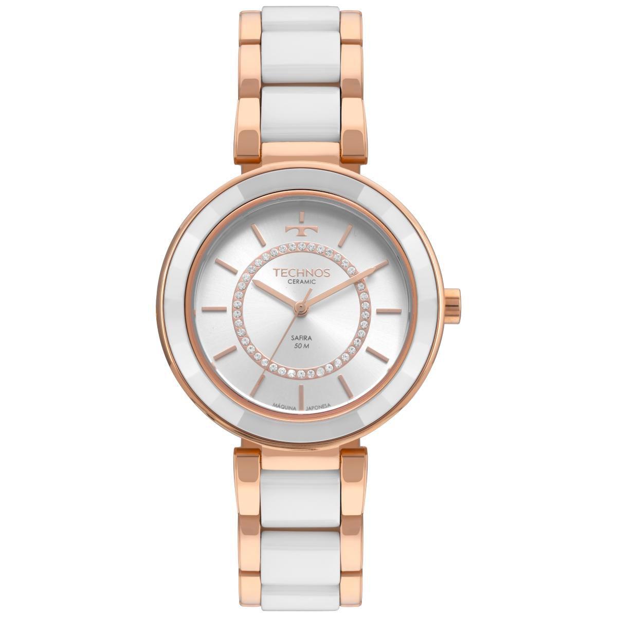 Relógio Feminino Technos Elegance 2036MKP/4B 40mm Cerâmica Branca