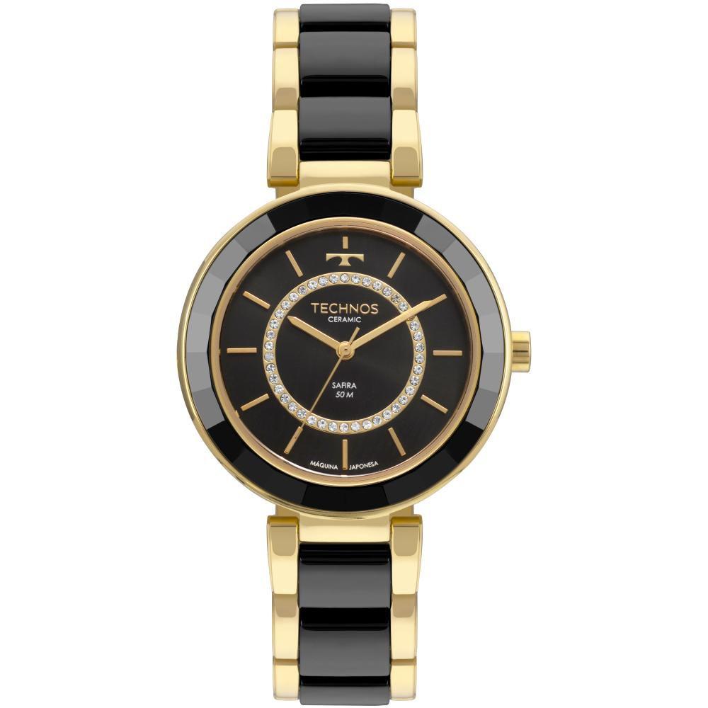 Relógio Feminino Technos Elegance 2036MKP/4P 40mm Cerâmica Preta