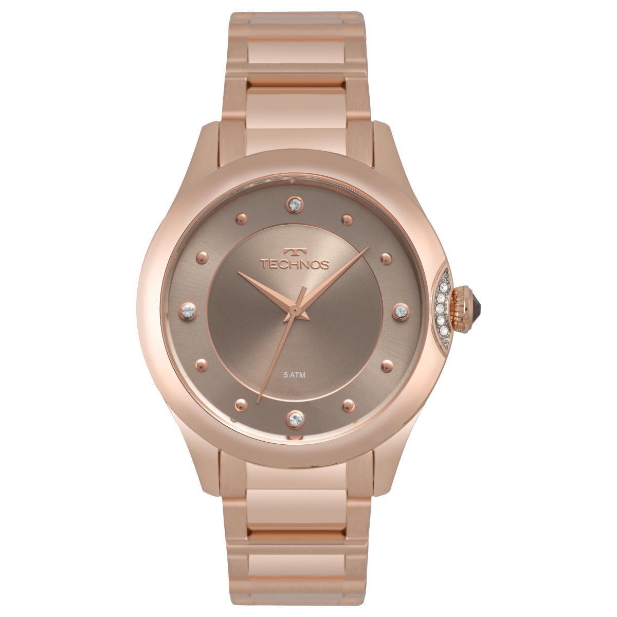 Relógio Feminino Technos Elegance Crystal 2035MQA/5C 38mm Aço Rosê