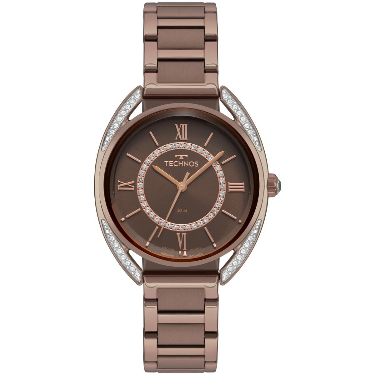 Relógio Feminino Technos Elegance Crystal 2035MRE/4M 36mm Aço Marrom