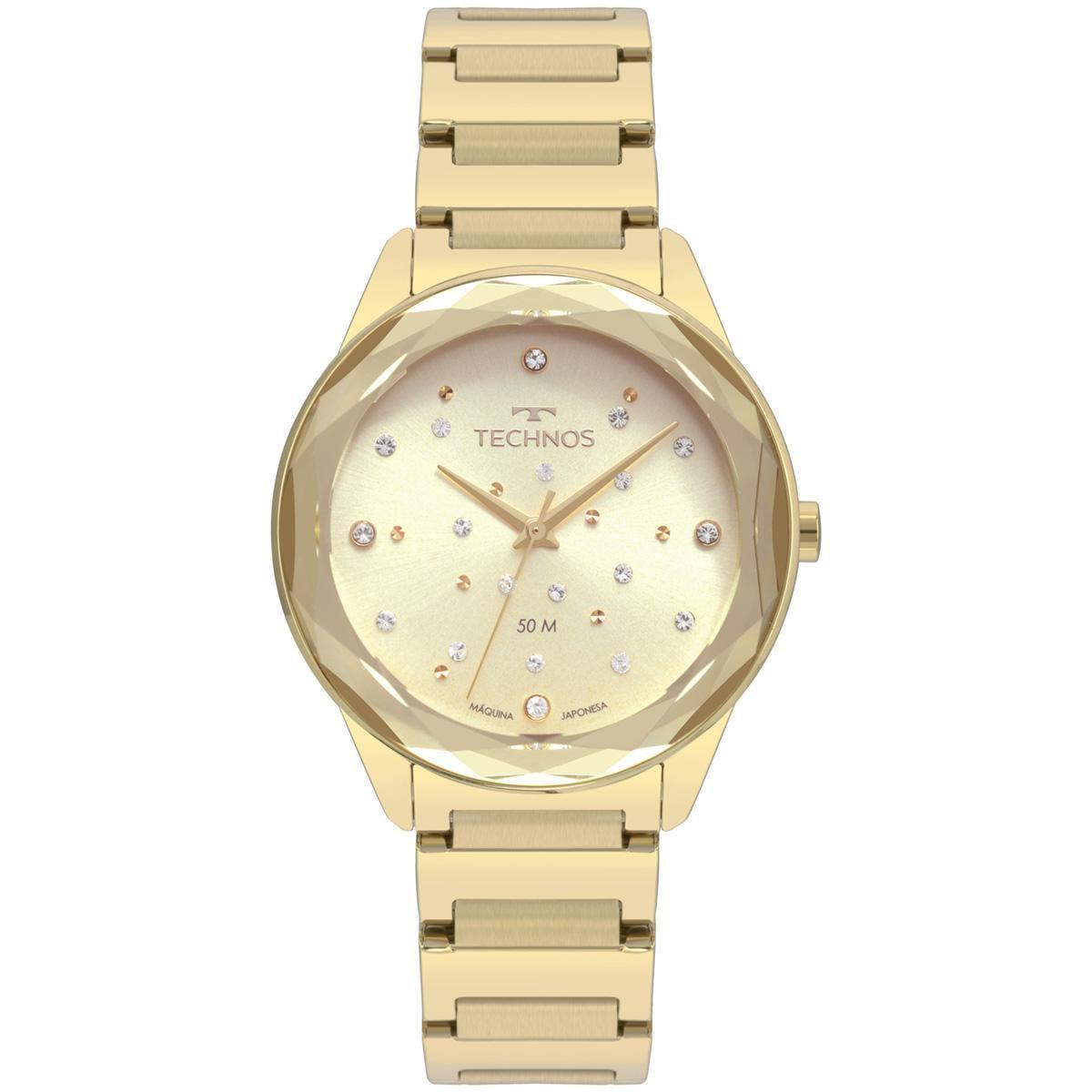 Relógio Feminino Technos  Elegance Crystal 2036MKH/4X 38mm Aço Dourado