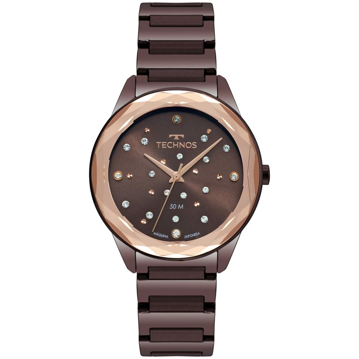 Relógio Feminino Technos Elegance Crystal 2036MKJ/4M 38mm Aço Marrom