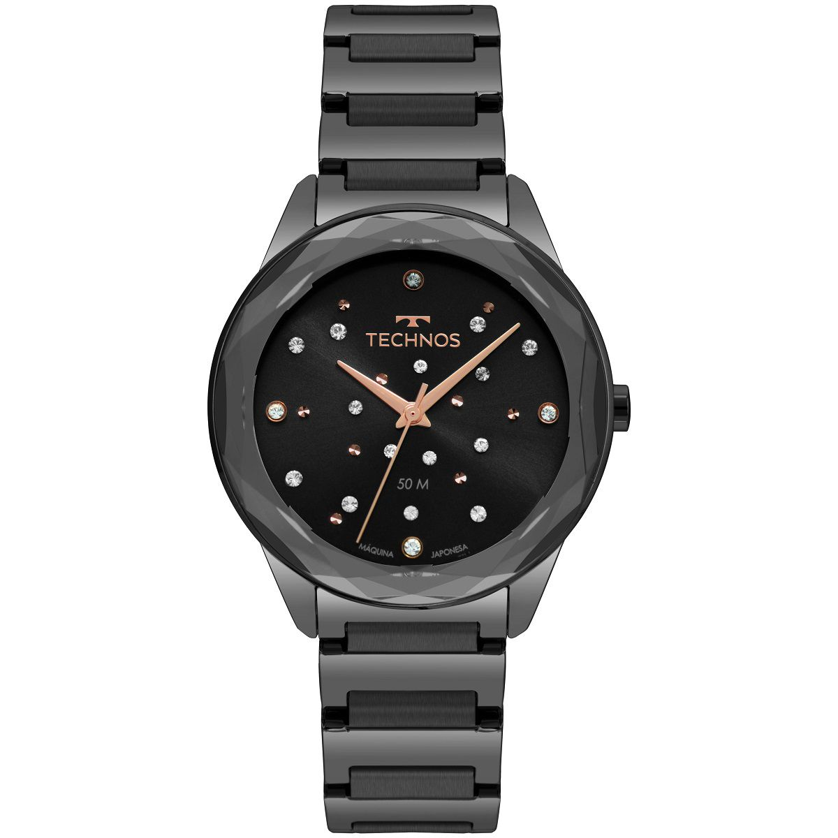 Relógio Feminino Technos Elegance Crystal 2036MKK/4P 38mm Aço Preto