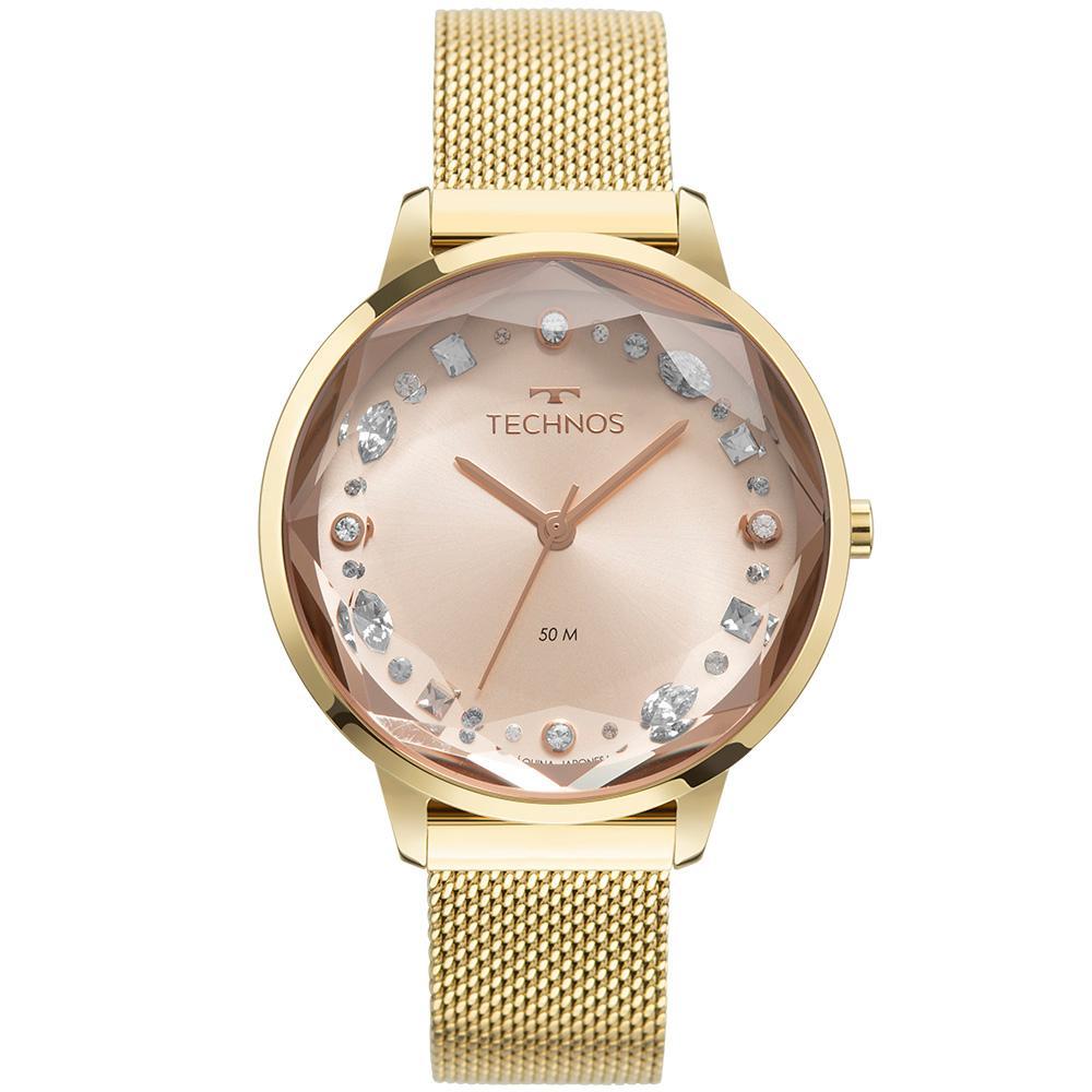 Relógio Feminino Technos Elegance Crystal 2036MMW/1T 38mm Aço Dourado