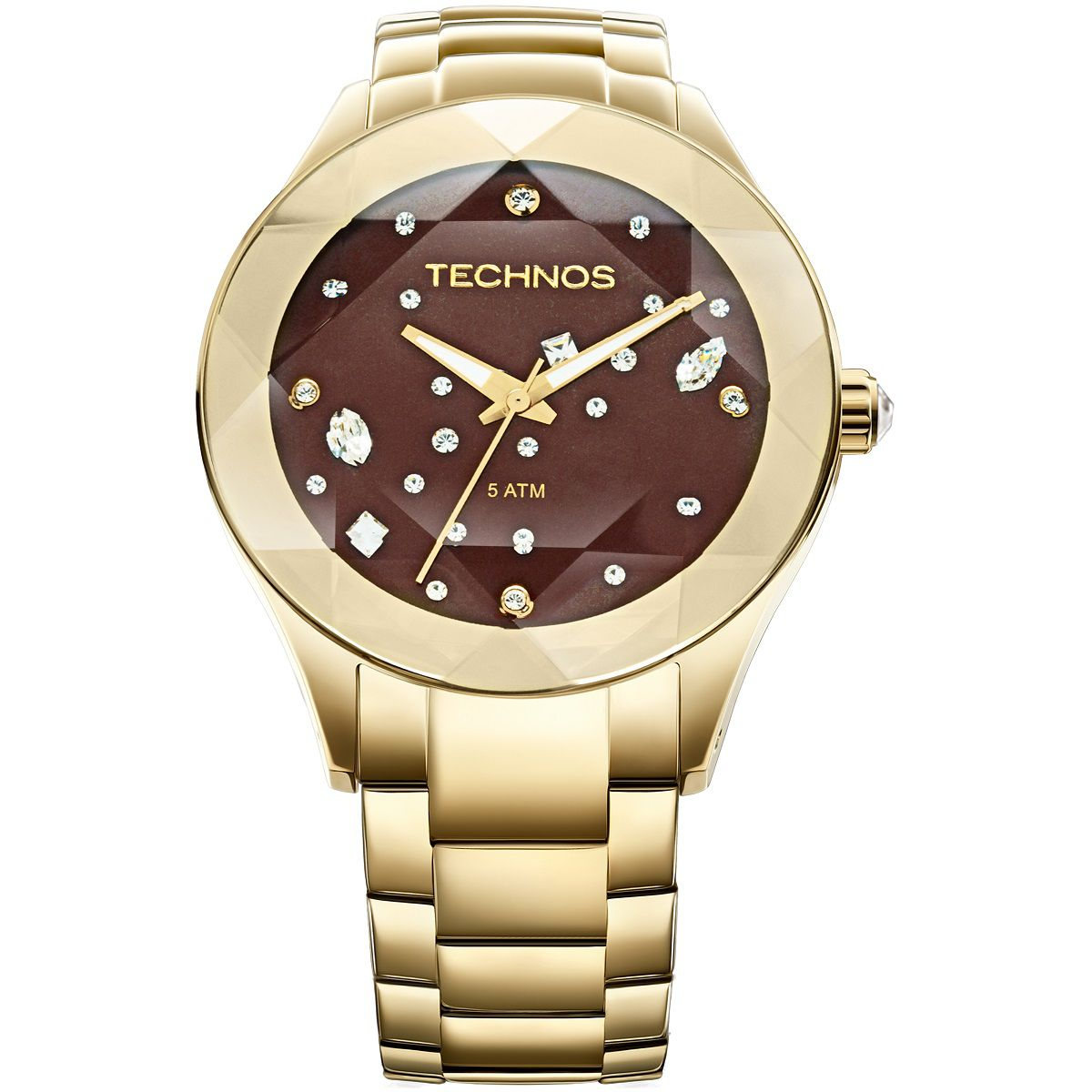 Relógio Feminino Technos Elegance Crystal 2039ATDTM/4M 41mm Aço Dourado