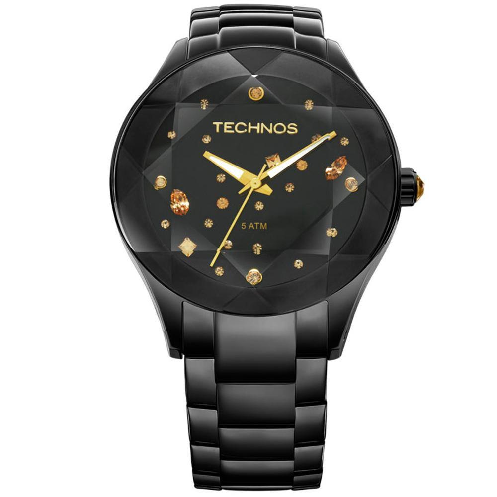 Relógio Feminino Technos Elegance Crystal 2039AUDTM/1P 41mm Aço Preto