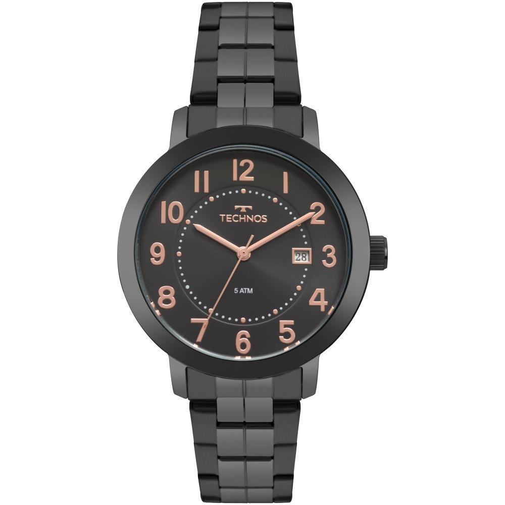 Relógio Feminino Technos Elegance Dress 2115MRV/4P 40mm Aço Preto