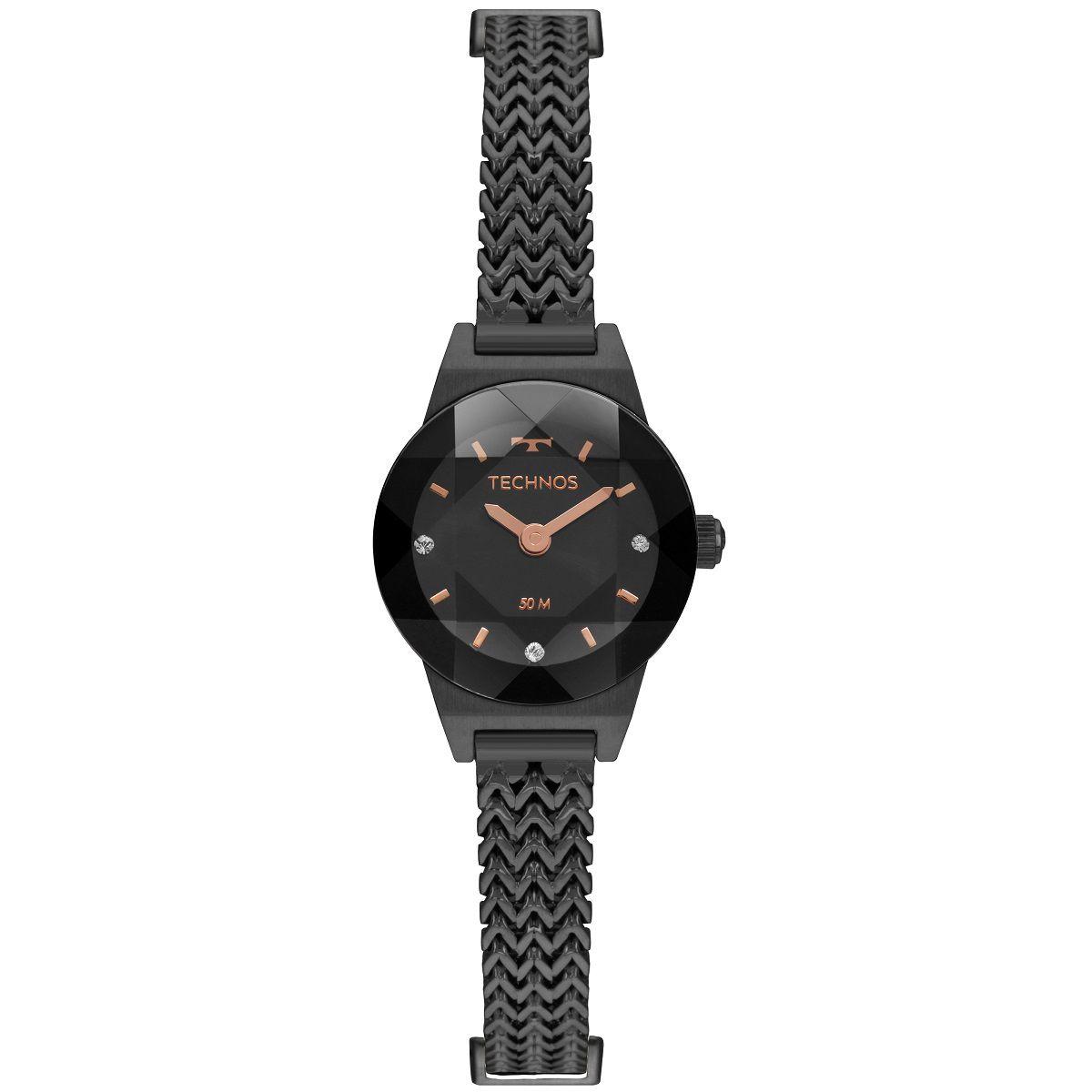 Relógio Feminino Technos Elegance Mini 5Y20IT/4P 21mm Aço Preto