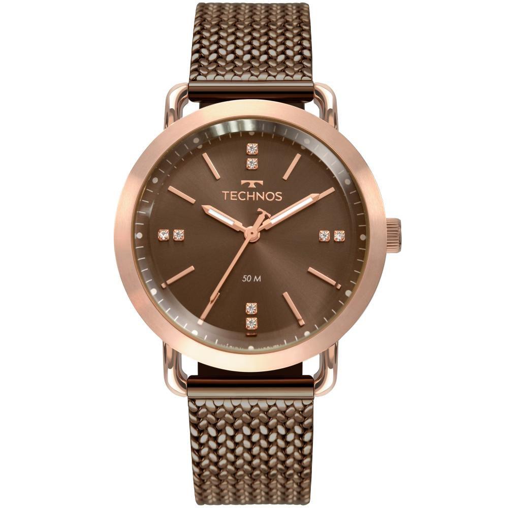 Relógio Feminino Technos Fashion Style 2036MMD/4M 38mm Aço Marrom