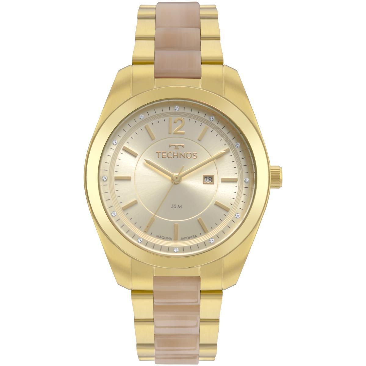 Relógio Feminino Technos Fashion Trend 2015CCX/4X 40mm Aço Dourado
