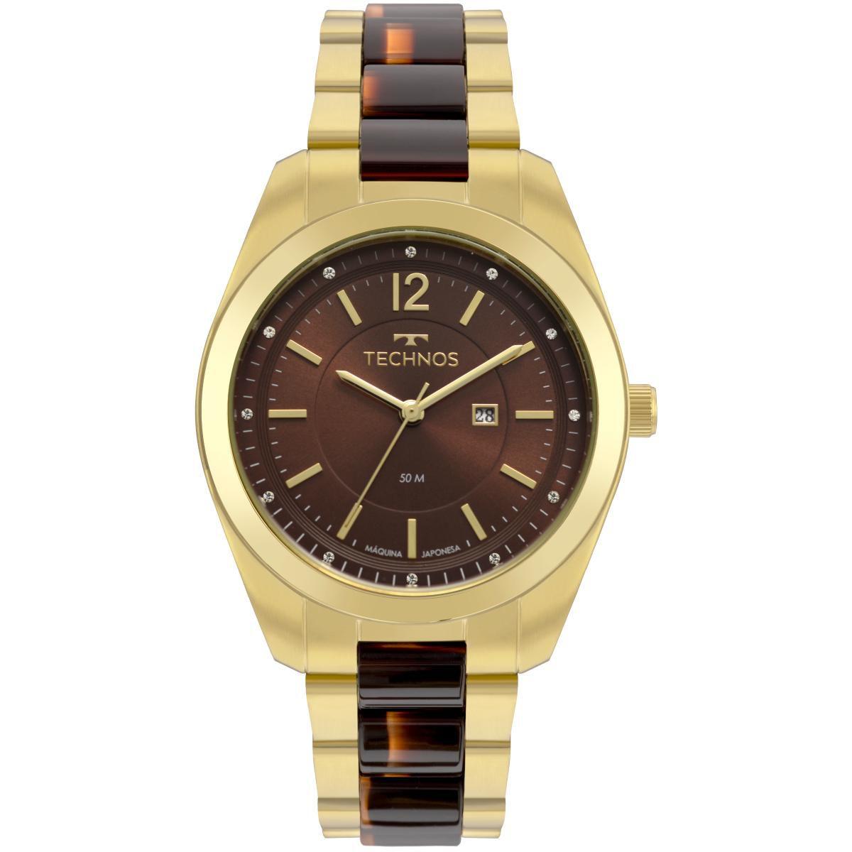 Relógio Feminino Technos Fashion Trend 2015CCY/4M 40mm Aço Bicolor Dourado/Marrom