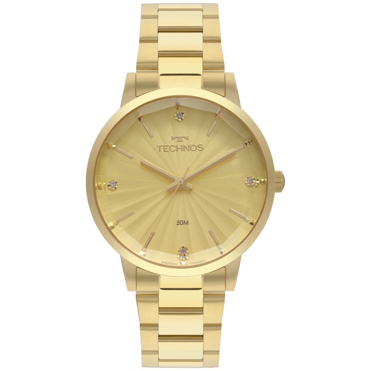 Relógio Feminino Technos Fashion Trend 2036MKV/4X 42mm Aço Dourado