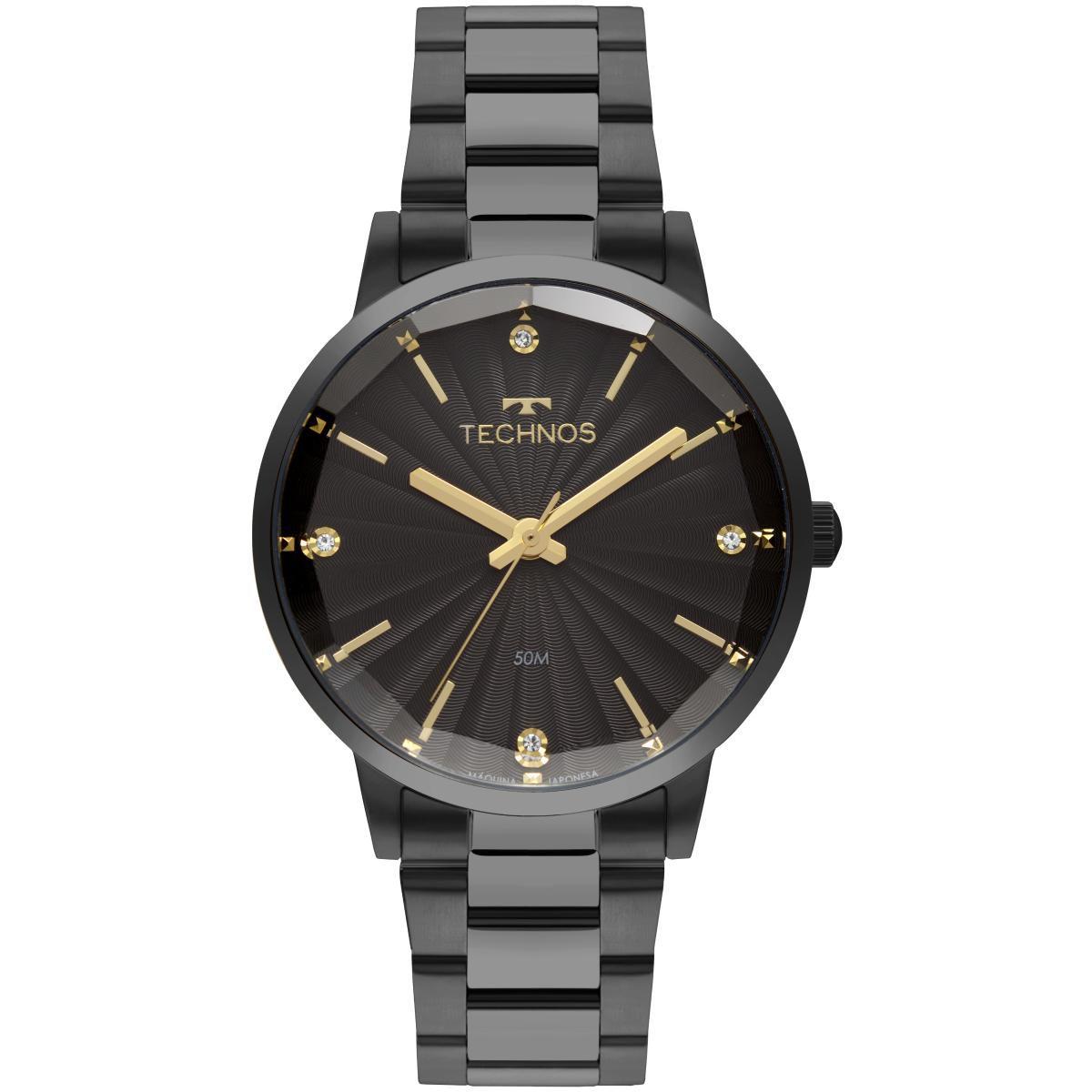 Relógio Feminino Technos Fashion Trend 2036MKW/4P 42mm Aço Preto